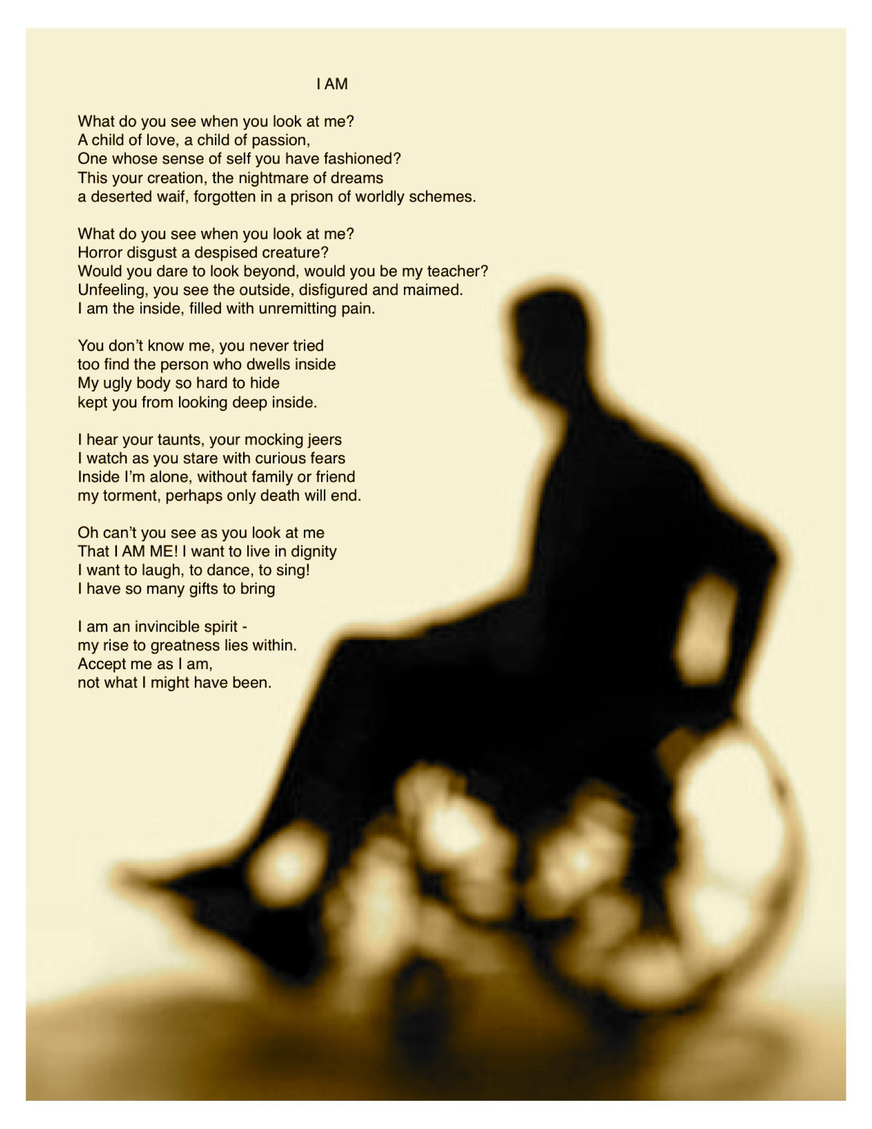 Disability Poem by Marty Gregoire