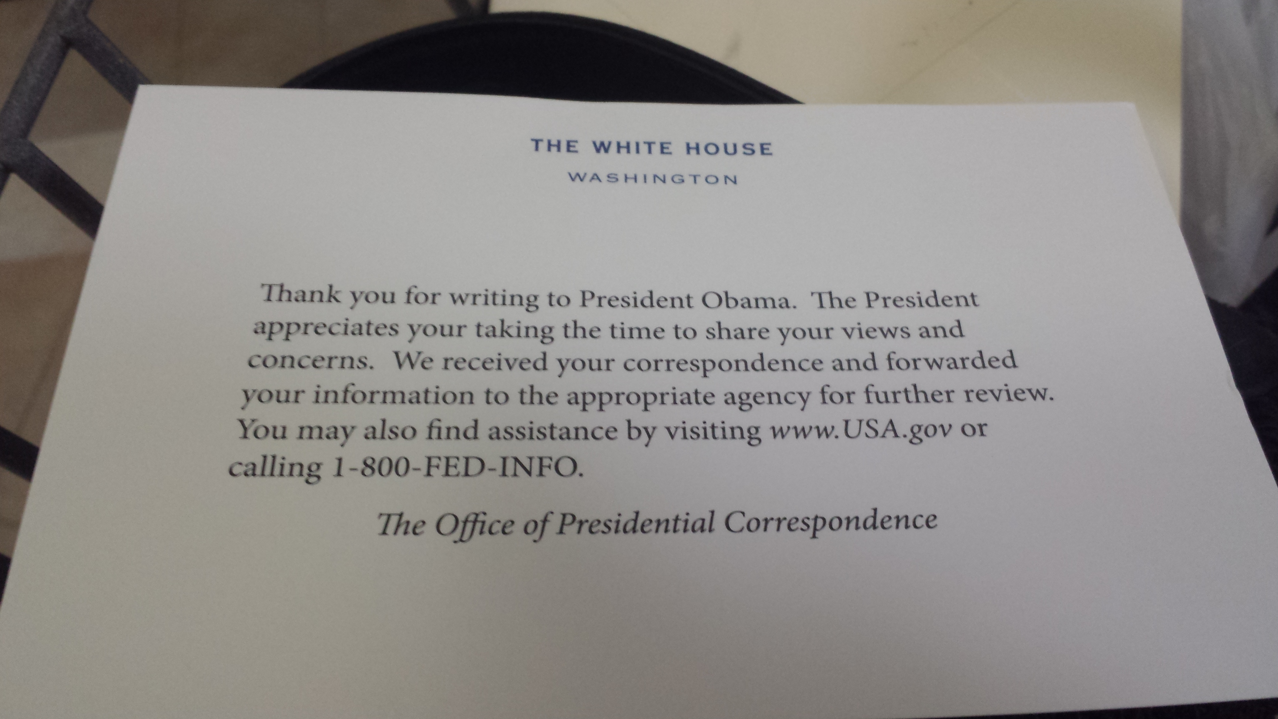 White House Response Regarding Cerebral Palsy Awareness
