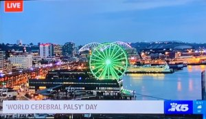The Seattle Great Wheel Goes Green for World CP Day! Credit: King 5 News